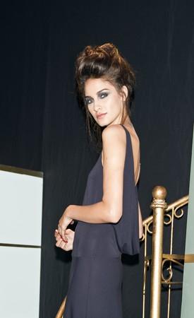 NEW YORK - 16. SEPTEMBER: A Model Presents Kleid für Rebecca Moses  Editorial