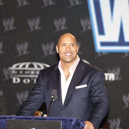 NEW YORK, NY - MARCH 30: WWE Superstar Dwayne 'The Rock' Johnson attends the WrestleMania XXVII press conference at Hard Rock Cafe New York on March 30, 2011 in New York City.