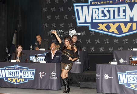 NEW YORK, NY - MARCH 30: Nicole Snooki Polizzi attends the WrestleMania XXVII press conference at the Hard Rock Cafe, Times Square on March 30, 2011 in New York City. Editorial
