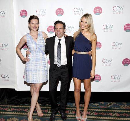 NEW YORK, NY - MAY 20: (L - R) Jill Flint, Mario Cantone, and Katrina Bowden attends the 2011 Cosmetic Executive Women Beauty Awards at The Waldorf-Astoria Hotel on May 20, 2011 in New York City.