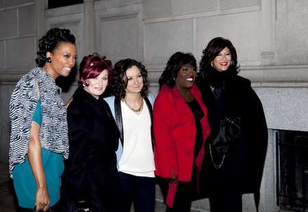 NEW YORK - DECEMBER 10: (L-R) Aisha Tyler, Sharon Osbourne, Sara Gilbert, Sheryl Underwood & Julie Chen attend CBS  Stock Photo - 11441459