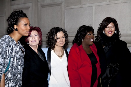 gilbert: NEW YORK - DECEMBER 10: (L-R) Aisha Tyler, Sharon Osbourne, Sara Gilbert, Sheryl Underwood & Julie Chen attend CBS  Editorial