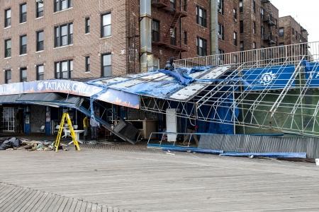 NEW YORK - NOVEMBER 1, 2012  Damage done by hurricane Sandy to Restaurant Tatiana on Brighton Beach Boardwalk, Brooklyn, NY, November 1, 2012