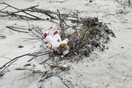 hurricane sandy: NEW YORK - NOVEMBER 1, 2012  Abandoned Teddy Bear on the sand of Brighton Beach after Hurricane Sandy in Brooklyn area on November 1, 2012, Brooklyn, NY