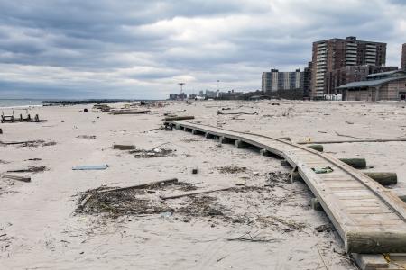 hurricane sandy: NEW YORK - NOVEMBER 1, 2012  Debris on the Brighton Beach after Hurricane Sandy hit Brooklyn area on November 1, 2012, Brooklyn, NY