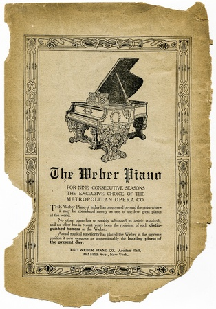 weber: USA, New York, Cirka 1903-1908  Antique advertisement of The Weber Piano on white background