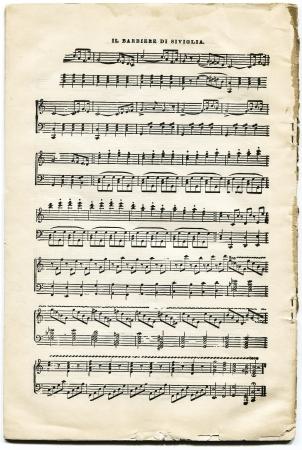 アメリカ、ニューヨーク、Cirka 1903-1908年アンティーク楽譜オペラ ロッシーニのセビリアの理髪師 報道画像