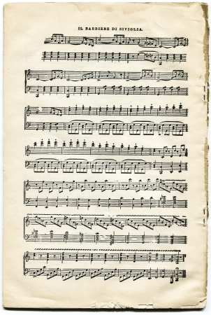 USA, New York, Cirka 1903-1908   Antique sheet music of  opera  Barber of Seville  by Rossini  Redactioneel