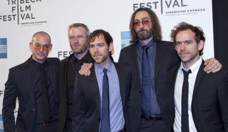 NEW YORK, NY - APRIL 17: L-R) Band members of The National Scott Devendorf, Matt Berninger, Bryce Dessner, Bryan Devendorf and Aaron Dessner attend Mistaken For Strangers Opening Night Premiere during the 2013 Tribeca Film Festival in New York, NY, on