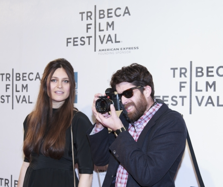 NEW YORK, NY - APRIL 17: Adam Goldberg and guest  attend the Mistaken for Strangers premiere during the opening night of the 2013 Tribeca Film Festival at BMCC Tribeca PAC on April 17, 2013 in NYC.