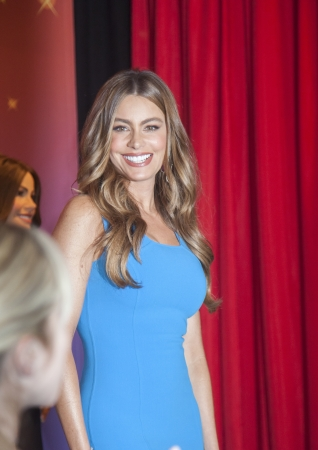 NEW YORK, USA - June 4, 2013: Model and actress Sofia Vergara  poses next to two of her wax figures for display at Madame Tussauds locations in New York and Las Vegas on June 4, 2013 in New York City.