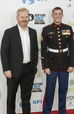 comedian: NEW YORK, NY - NOVEMBER 06  Comedian Jim Gaffigan and Sergeant Evan Stratton  L-R  attend the 7th annual