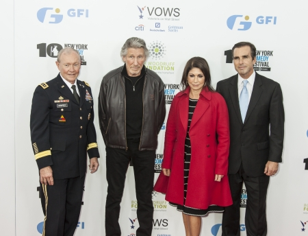 NEW YORK, NY - NOVEMBER 06  Martin E  Dempsey, Roger Waters, Caroline Hirsch, Bob Woodroff  L-R  attend the 7th annual