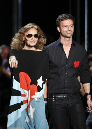 stage make up: NEW YORK, NY - FEBRUARY 13  Diane von Furstenberg and Yvan Mispelaere walks the runway at the Diane von Furstenberg Fall 2011 fashion show during Mercedes-Benz Fashion Week at The Theatre at Lincoln Center on February 13, 2011 in New York City