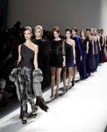 NEW YORK - FEBRUARY 11  Models walk runway for Farah Angsana collection at Mercedes-Benz Fall Winter 2011 Fashion Week on February 11, 2011 in New York City