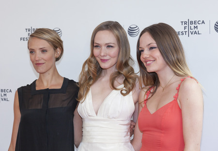 meade: New York, NY, USA - April 17, 2014: (L-R) Alexia Rasmussen, Louisa Krause and Emily Meade attend the 2014 Tribeca Film Festival Screening of Gabriel at The SVA Theater, Manhattan Editorial
