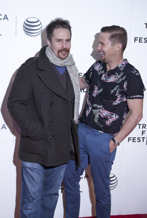loitering: New York, NY, USA - April 18, 2014: Sam Rockwell and Brian Geraghty attend the 2014 Tribeca Film Festival Word Premiere Narrative: Loitering With Intent at BMCCTribeca PAC, Manhattan Editorial