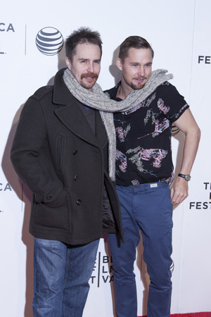 loitering: New York, NY, USA - April 18, 2014  Sam Rockwell and Brian Geraghty attend the 2014 Tribeca Film Festival Word Premiere Narrative   Editorial