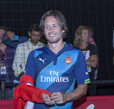 arsenal: New York, NY, USA - July 25, 2014  Arsenal football player Tomas Rosicky atttends the PUMA partners with Arsenal Football Club to Debut Monumental Cannon event in Grand Central Station in New York City