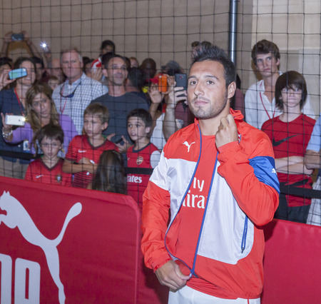 arsenal: New York, NY, USA - July 25, 2014  Arsenal  football player Santi Cazorla attends the PUMA partners with Arsenal Football Club to Debut Monumental Cannon event in Grand Central Station in New York City  Editorial