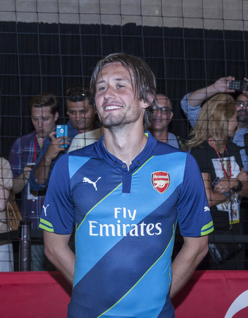 New York, NY, USA - July 25, 2014  Arsenal football player Tomas Rosicky attends the PUMA partners with Arsenal Football Club to Debut Monumental Cannon event in Grand Central Station in New York City