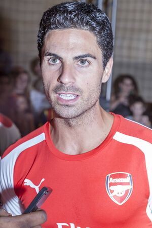 New York, NY, USA - July 25, 2014  Arsenal football player Mikel Arteta attends the PUMA partners with Arsenal Football Club to Debut Monumental Cannon in Grand Central Station in New York City  Editorial