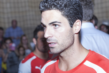 New York, NY, USA - July 25, 2014  Arsenal foofball player Mikel Arteta attends the PUMA partners with Arsenal Football Club to Debut Monumental Cannon event in Grand Central Station in New York City