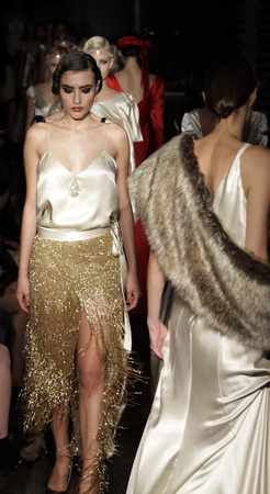 starlet: New York, NY, USA - October 9, 2014: Models walk runway for the Exclusive Launch of Johanna Johnson red carpet & Bridal SpringSummer 2015 Starlet Collection at the Exclusive Parlor members Club