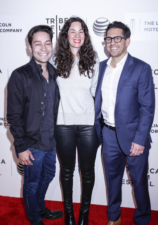 lizzie: New York, NY, USA - April 17, 2015: (L-R) Producers Richard J. Bosner, Michael Gasparro, and Lizzie Nastro attend the premiere of The Wannabe during the 2015 Tribeca Film Festival at BMCC Tribeca PAC, Manhattan