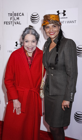 attend: New York, NY, USA - April 19, 2015: Raven Wilkinson(L) and Victoria Rowell attend the premiere of Editorial