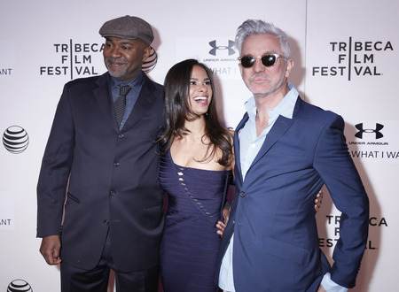 filmmaker: New York, NY, USA - April 19, 2015: (L-R)Filmmaker Nelson George, Misty Copeland and Baz Luhrmann attend the premiere of