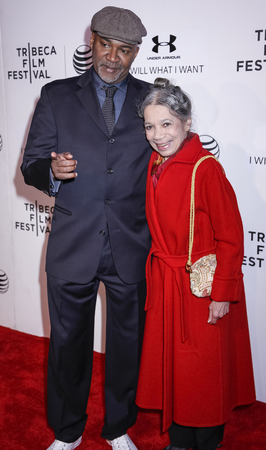 filmmaker: New York, NY, USA - April 19, 2015: Filmmaker Nelson George and Raven Wilkinson attends the premiere of A Ballerinas Tale during the 2015 Tribeca Film Festival at BMCC Tribeca PAC, Manhattan