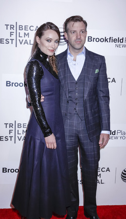 olivia: New York, NY, USA - April 21, 2015: Actors Jason Sudeikis and Olivia Wilde attend the Spotlight premiere of 'Sleeping with other people' during the 2015 Tribeca Film Festival at BMCC Tribeca PAC, Manhattan