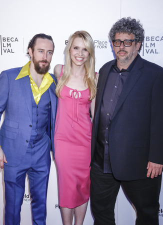 narrative: New York, NY, USA - April 19, 2015: (L-R)Actors Phil Burke, Gia Crovatin and writerdirector Neil LaBute attend World Premiere Narrative of Dirty Weekend during 2015 Tribeca Film Festival at Regal Battery Park 11, Manhattan Editorial