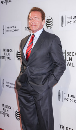 New York, NY, USA - April 22, 2015: Actor Arnold Schwarzenegger attends the World premiere Narrative of Maggie during the 2015 Tribeca Film Festival at BMCC Tribeca PAC, Manhattan Editorial