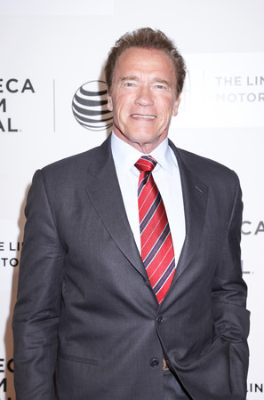 New York, NY, USA - April 22, 2015: Actor Arnold Schwarzenegger attends the World premiere Narrative of Maggie during the 2015 Tribeca Film Festival at BMCC Tribeca PAC, Manhattan Фото со стока - 39152814