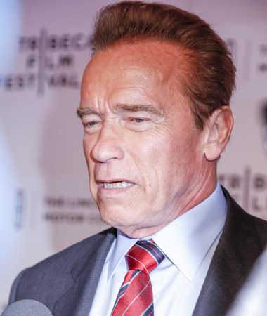 New York, NY, USA - April 22, 2015: Actor Arnold Schwarzenegger attends the World premiere Narrative of Maggie during the 2015 Tribeca Film Festival at BMCC Tribeca PAC, Manhattan 報道画像