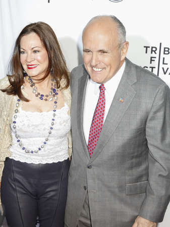 New York, NY, USA - April 15, 2015: Former Mayor of New York City Rudy Giuliani and wife Judith Giuliani attend the world premiere of 'Live From New York' during the 2015 Tribeca Film Festival at The Beacon Theatre, Manhattan