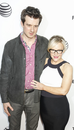 christian festival: New York, NY, USA - April 15, 2015:  Musician Christian Hebel (L) and actress Rachael Harris attends the world premiere of Live From New York during the 2015 Tribeca Film Festival at The Beacon Theatre, Manhattan Editorial