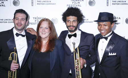 seneca: New York, NY, USA - April 21, 2015: Seneca Black, Claire Daly, Wayne Tucker, Solomon Hicks attend Special Screening Narrative On The Town during the 2015 Tribeca Film Festival at Spring Studios, Manhattan