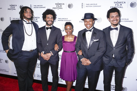 tucker: New York, NY, USA - April 21, 2015:  Members of the JC Hopkins Biggish Band (L-R) Cory Wallace, Wayne Tucker, Tamisha Anthony, Soloman Hicks and Charles Gould attend Special Screening Narrative On The Town during the 2015 Tribeca Film Festival at Spring S Editorial