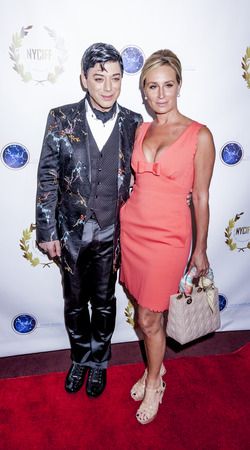 documentary: New York, NY, USA - April 30, 2015: Malan Breton (L) and Sonja Morgan attend world premiere of documentary film 'A Journey to Taiwan' during NYC International Film Festival at the DGA Theatre, Manhattan Editorial