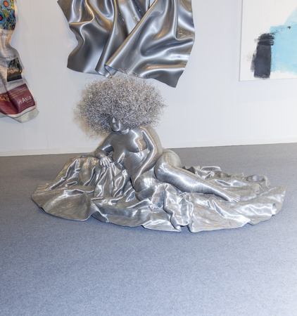 modern art: New York, NY, USA - May 16, 2015: Wire sculpture Park Soo Young by Seung-Mo, Park presented by Cheril Hazan contemporary art gallery at Art Miami New York, the international contemporary and modern art fair at Pier 94, Manhattan. Paintings, sculpture, i