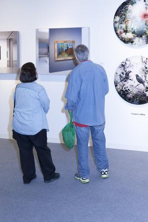 モダンアート: New York, NY, USA - May 16, 2015: Visitors view artworks at Art Miami New York, the international contemporary and modern art fair at Pier 94, Manhattan. Paintings, sculpture, installation from about 1200 artists from over 50 countries presented by 100 le