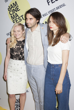 bam: Brooklyn, NY, USA - June 22, 2015: (L-R) Elisabeth Moss, Alex Ross Perry, Katherine Waterston attend BAMcinemaFest 2015 'Queen of Earth' premiere at BAM Peter Jay Sharp Building, BAM Rose Cinema Editorial