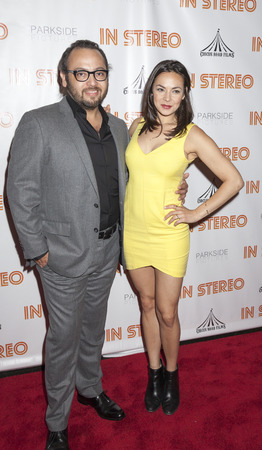 New York, NY, USA - June 24, 2015: Director Mel Rodriguez III and actress Emmy Harrington attend the New York premiere of In Stereo at Tribeca Grand Hotel, Manhattan