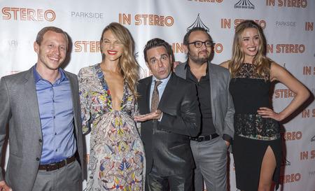New York, NY, USA - June 24, 2015: (L-R) Micah Hauptman, Beau Garrett, Mario Cantone, Mel Rodriguez III, Melissa Bolona attend the New York premiere of In Stereo at Tribeca Grand Hotel, Manhattan