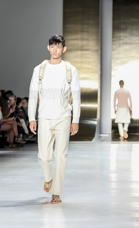 perry: New York, NY, USA - July 16, 2015: A model walks runway at the Perry Ellis Runway show during New York Fashion Week: Mens SS 2016 at Skylight Clarkson Sq, Manhattan Editorial