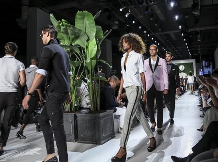 sq: New York, NY, USA - July 15, 2015: Model walk runway at the Michael Bastian Runway show during New York Fashion Week: Mens SS 2016 at Skylight Clarkson Sq, Manhattan
