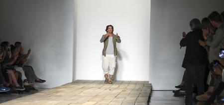 sq: New York, NY, USA - July 15, 2015: Fashion designer Greg Laurenon the runway at the Greg Lauren Runway show during New York Fashion Week: Mens SS 2016 at Skylight Clarkson Sq, Manhattan